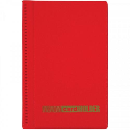Визитница настольная OfficeSpace на 96 визиток, 3 ряда, ПВХ, красный