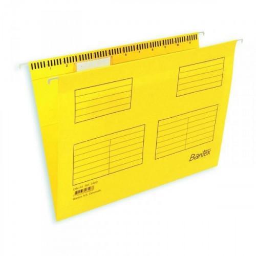 Подвесная папка Bantex Foolscap до 250 листов желтая 25 штук в упаковке