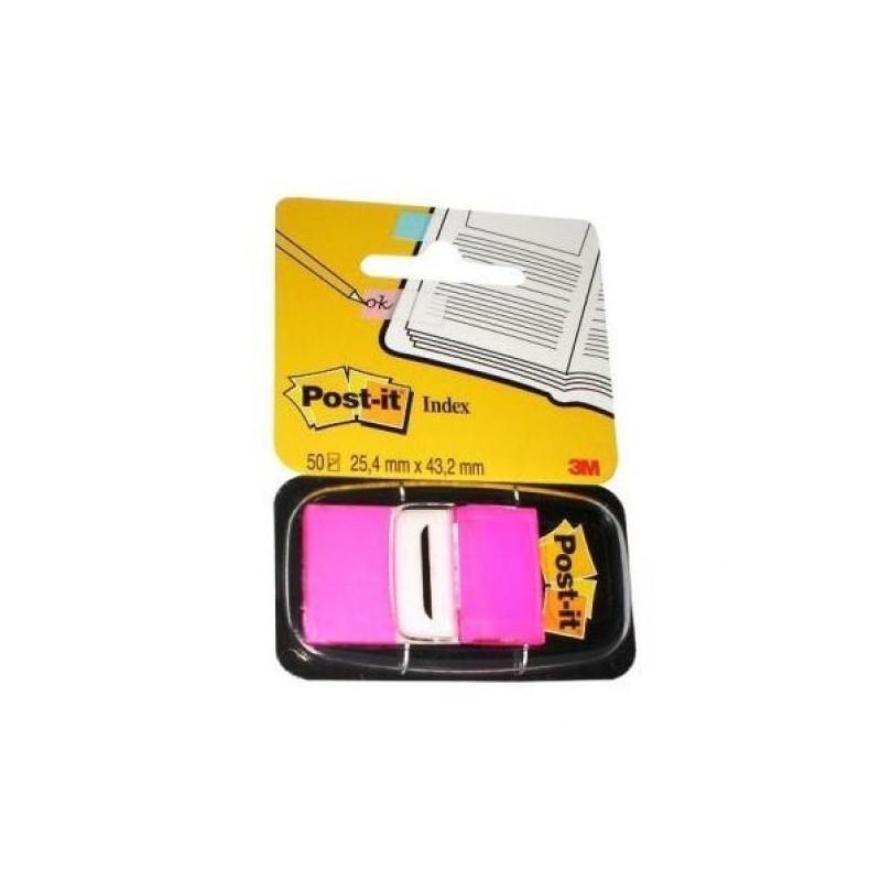 Клейкие закладки пластик 1 цвет 50 листов по 25 мм розовые Post-it