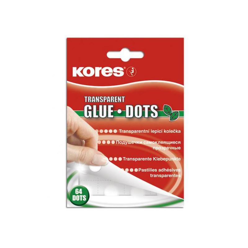 Клейкая лента-точки KORES прозрачные удаляемые 64 штуки
