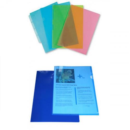 Папка-уголок прозрачная синяя А4 0.12 мм