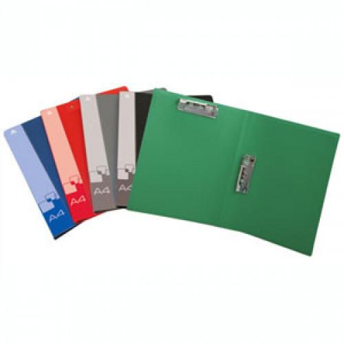 Папка с металлическим зажимом и верхним прижимом зеленая пластик 0.70 мм А4
