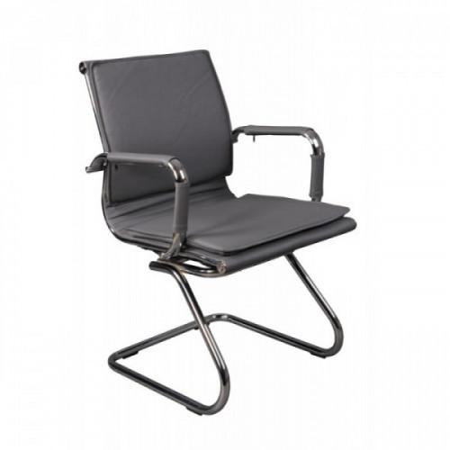 Кресло низкая спинка на полозьях Бюрократ CH-993-Low-V/grey серый искусственная кожа хром