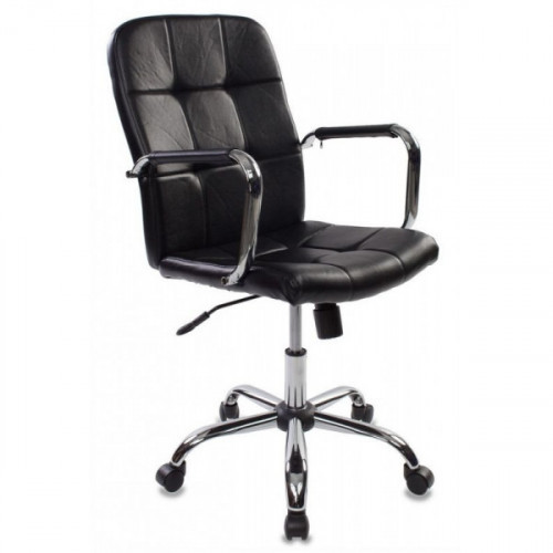Кресло руководителя Бюрократ CH-909-LOW/BLACK черный искусственная кожа крестовина хром