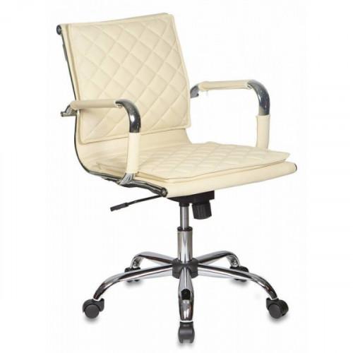 Кресло руководителя Бюрократ CH-991-Low/Ivory низкая спинка слоновая кость искусственная кожа крестовина хром