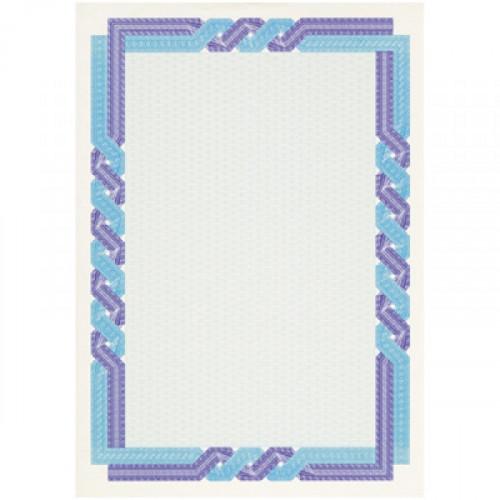 Сертификат-бумага сине-голубая крученая рамка А4 115 г пачка 25 листов с водяными знаками