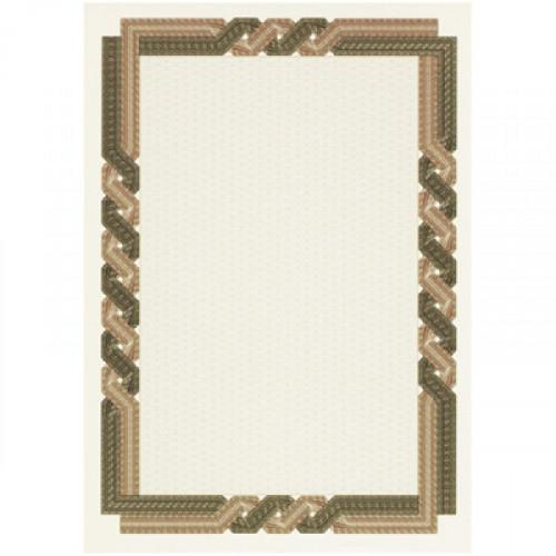 Сертификат-бумага коричневая крученая рамка А4 115 г пачка 25 листов с водяными знаками