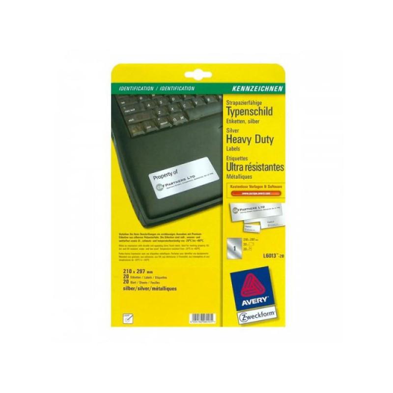 Этикетки самоклеящиеся L6013-20 Серебристые 210х297 мм L 20 листов в упаковке