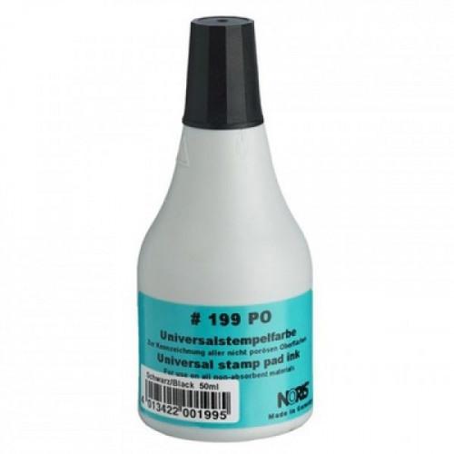 Краска штемпельная универсальная Noris 199Сч пластик камень резина фольга чёрная 50 мл Германия