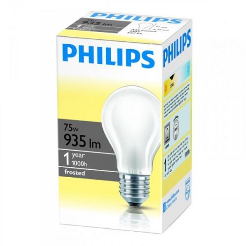 Лампа накаливания Philips 75 Вт цоколь E27 матовая теплый свет