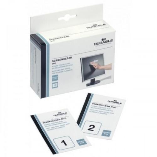 Салфетки Durable Screenclean DUO для экранов 10 сухих и 10 влажных