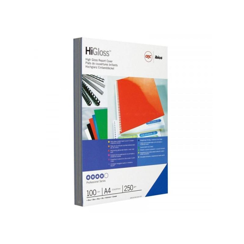 Обложки для переплета картонные 100 штук/упаковка синие глянец 250 г/м2 А4