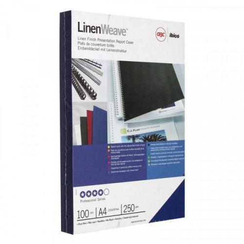 Обложки для переплета картонные 100 штук/упаковка синие лен 250 г/м2 А4