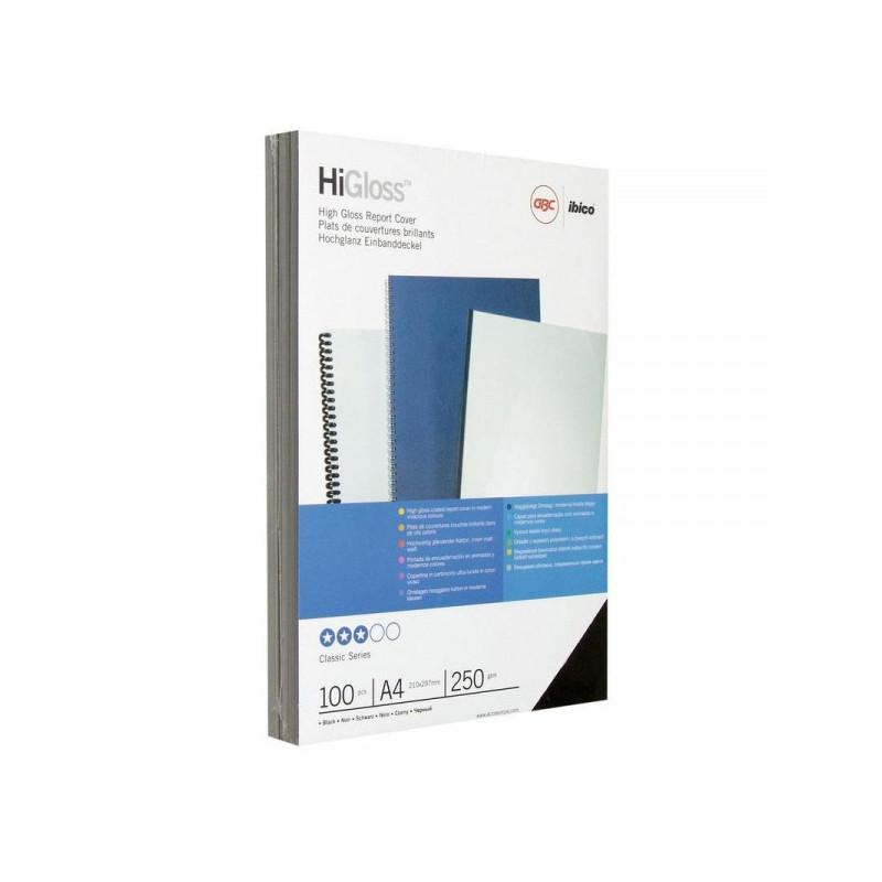 Обложки для переплета картонные 100 штук/упаковка черные глянец 250 г/м2 А4