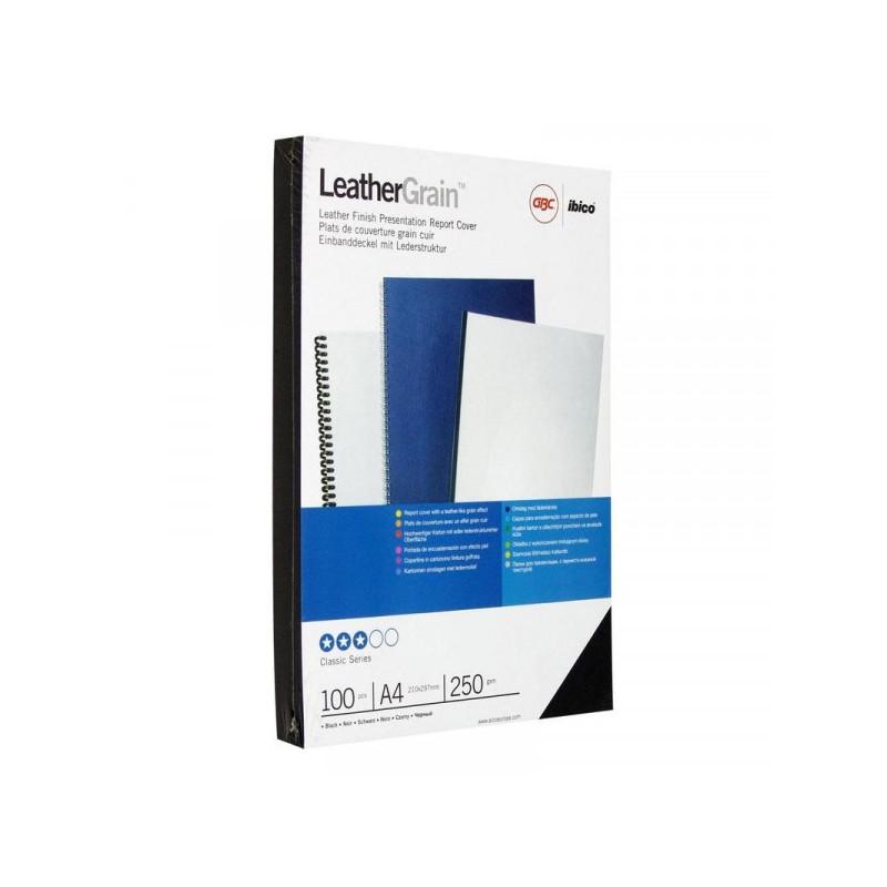 Обложки для переплета картонные 100 штук/упаковка черные кожа 250 г/м2 А4