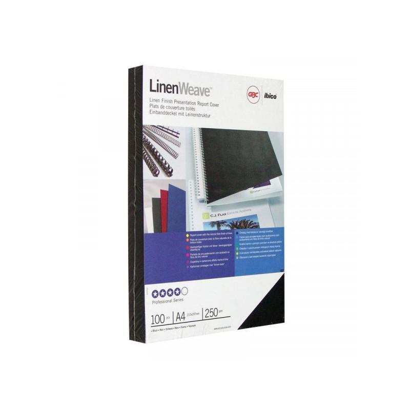 Обложки для переплета картонные 100 штук/упаковка черные лен 250 г/м2 А4