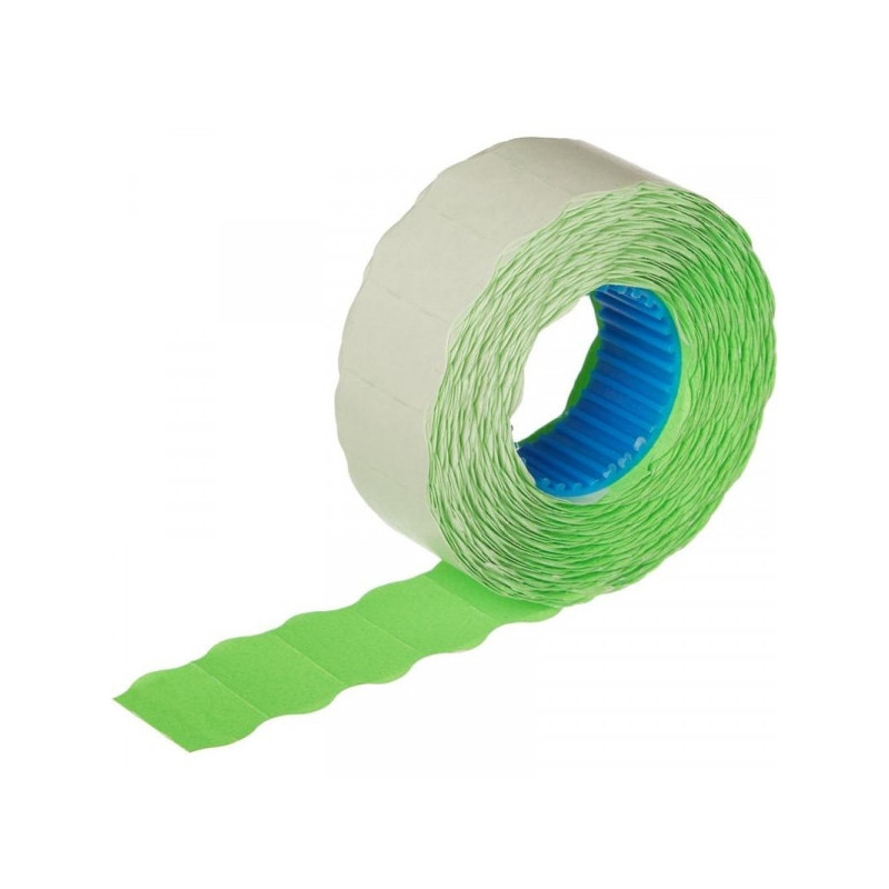 Этикет-лента 22х12 мм зеленая волна 1000 штук/рулон 10 рулонов/упаковка