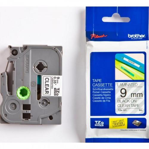 Картридж к принтеру Brother TZ/TZe-121 9 мм х 8 м черный/прозрачный пластик