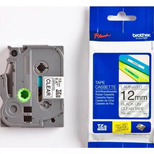 Картридж к принтеру Brother TZ/TZe-131 12 мм х 8 м черный/прозрачный пластик