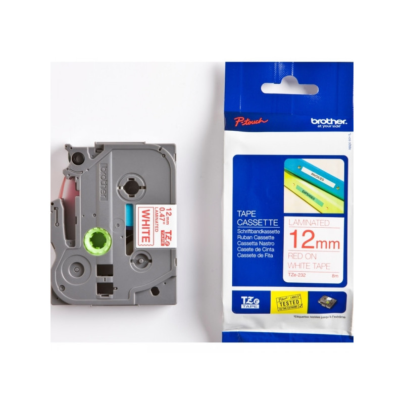 Картридж к принтеру Brother TZ/TZe-232 12 мм х 8 м красный/белый пластик