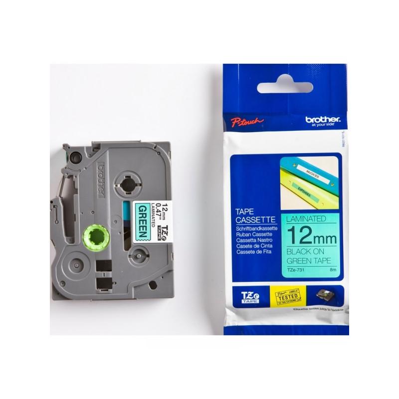 Картридж к принтеру Brother TZ/TZe-731 12 мм х 8 м черный/зеленый пластик