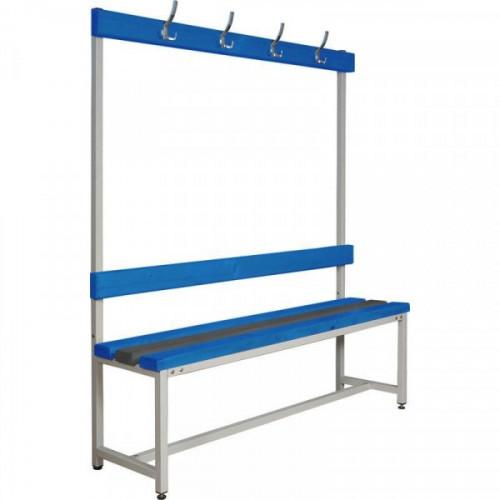 Скамья пластиковая СКП-1В-1500 со спинкой и вешалкой сине-серая 1500х390х1670 мм