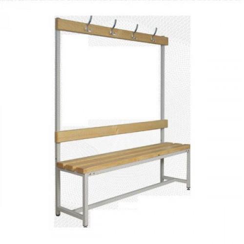 Скамья деревянная СКП-1В-1500 со спинкой и вешалкой сосна 1500х390х1670 мм