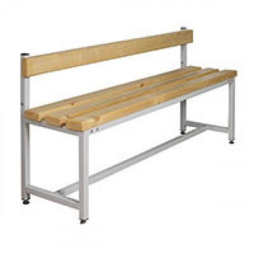 Скамья деревянная СК-1С-1500 на металлокаркасе со спинкой сосна 1500х390х470 мм