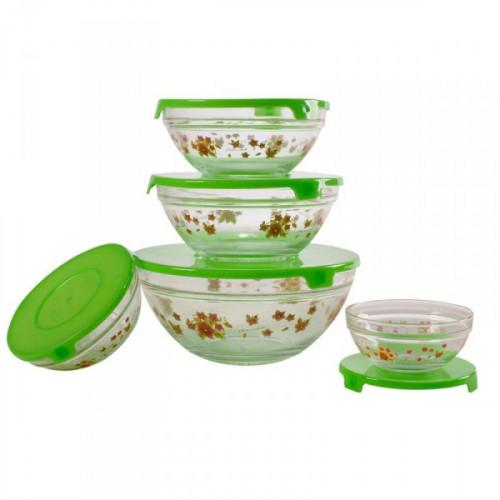 Набор стеклянных салатников с крышкой зеленые (5 штук в упаковке)