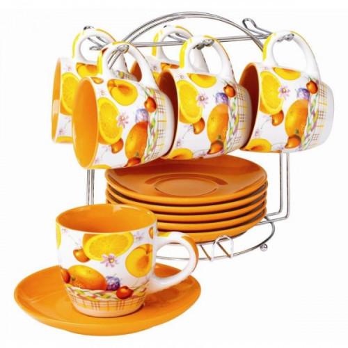 Сервиз чайный: 6 чашек 200 мл и 6 блюдец бело-цветной
