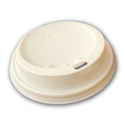 Крышка для стакана пластиковая белая с прорезью (диаметр 70 мм, 100 штук в упаковке)