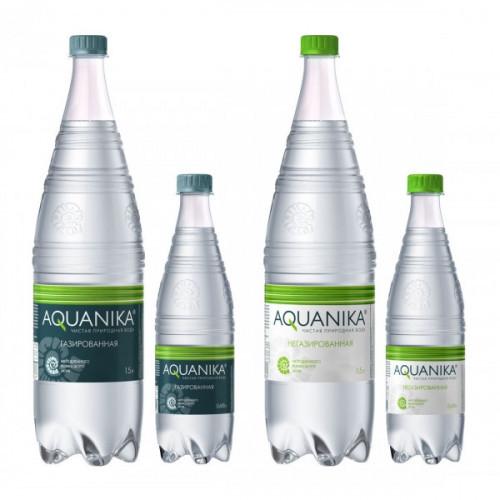 Вода минеральная Акваника премиум газированная 0.618 литра 12 штук в упаковке