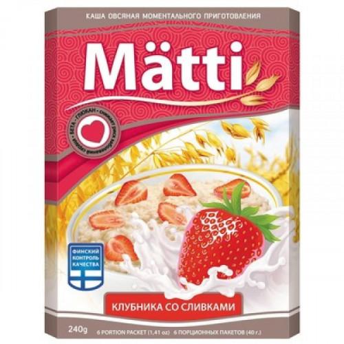 Каша Matti Клубника со сливками 6 штук по 40 грамм