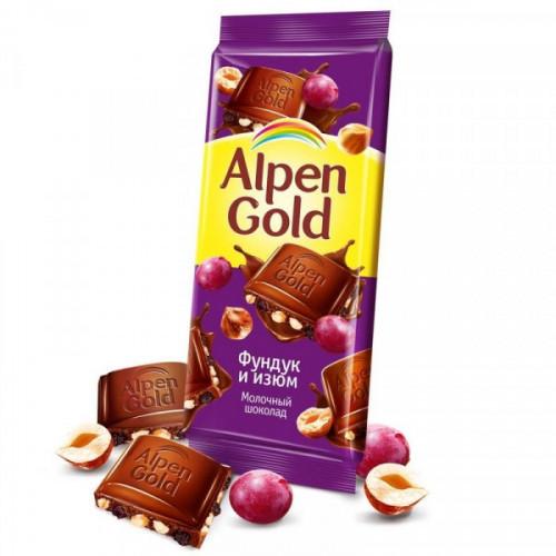 Шоколад Alpen Gold молочный с фундуком и изюмом 90 грамм
