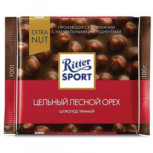 Шоколад Ritter Sport горький с цельный орех 100 грамм