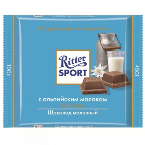 Шоколад Ritter Sport молочный с альпийским молоком 100 грамм