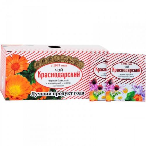 Чай Мацеста Краснодарский черный байховый с календулой и мятой 25 пакетиков