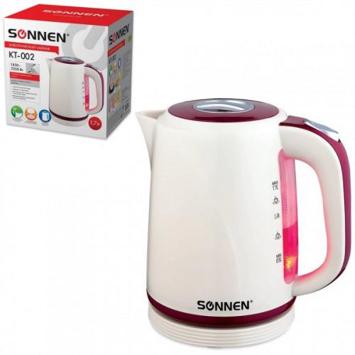 Чайник SONNEN KT-002, 1,7 л, 2200 Вт, закрытый нагревательный элемент, пластик, бежевый/красный, 451711