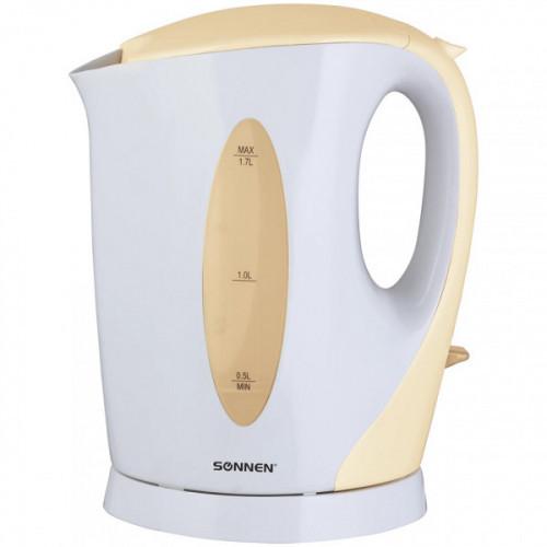 Чайник SONNEN KT-003BG, 1,7 л, 2200 Вт, открытый нагревательный элемент, пластик, белый/бежевый, 451819