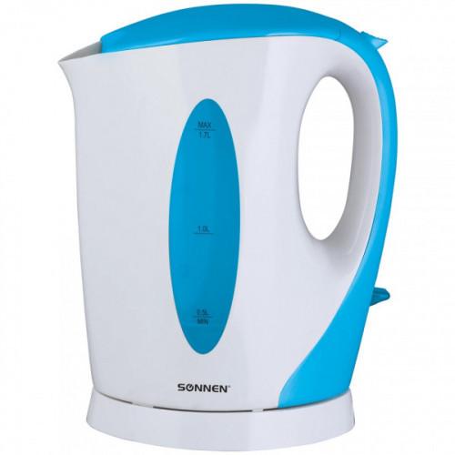 Чайник SONNEN KT-003BL, 1,7 л, 2200 Вт, открытый нагревательный элемент, пластик, белый/синий, 451818