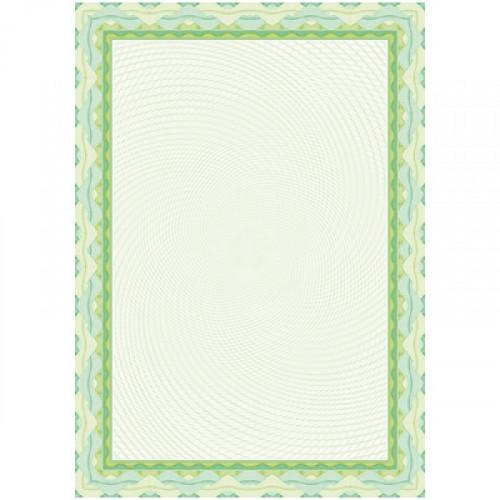 Сертификат-бумага  зеленый спираль А4 115 г  пачка 25 листов с водяными знаками