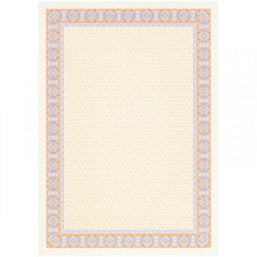 Сертификат-бумага сине-оранжевая рамка А4 115  г пачка 25 листов с водяными знаками