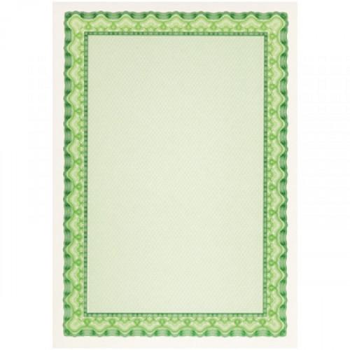 Сертификат-бумага зеленая рамка А4 115 г пачка 25 листов с водяными знаками