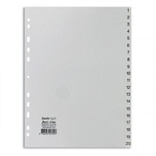 Разделитель листов 20 листов цифровые пластик Bantex 6227 Дания