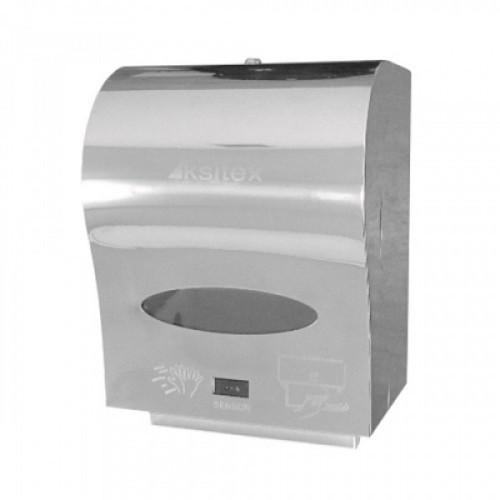 Держатель для рулонных полотенец KSITEX, сенсорный (220 В / батарейки LR20), нержавеющая сталь, зеркальный, А1-21S