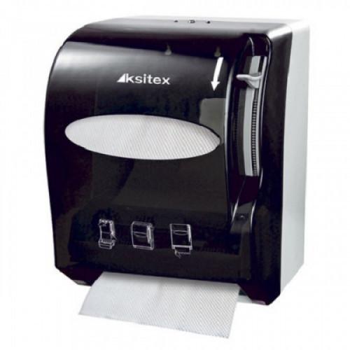 Держатель для рулонных полотенец KSITEX (Н1), бесконтактный, с ручным обрезанием бумаги, черный, AC1-13