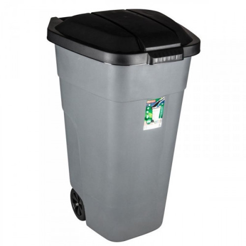 Бак мусорный 110 л пластиковый на 2-х колесах с крышкой серый