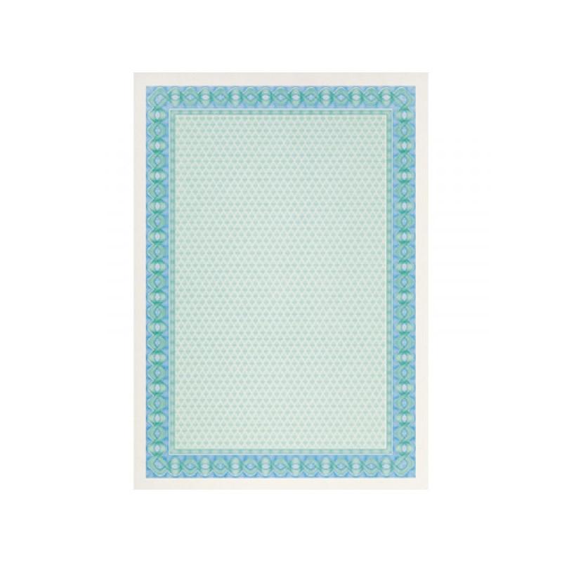 Сертификат-бумага синяя рамка А4 115 г пачка 25 листов с водяными знаками