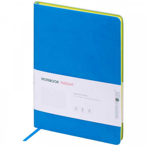 """Записная книжка А5 80л. ЛАЙТ, кожзам, """"Insight"""", синий, тонированный блок, ляссе, цветной срез - салатовый"""