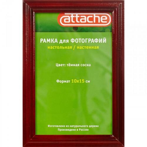 Рамка Attache деревянный багет фигурный 14 мм коньяк лак защитное стекло 10x15 см